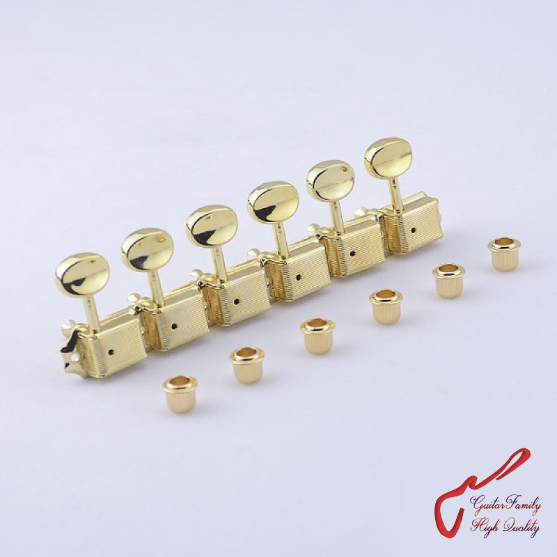 1 Set GuitarFamily  6 In-line  Kluson Vintage  Guitar Machine Heads Tuners  ( Gold ) MADE IN KOREA купить