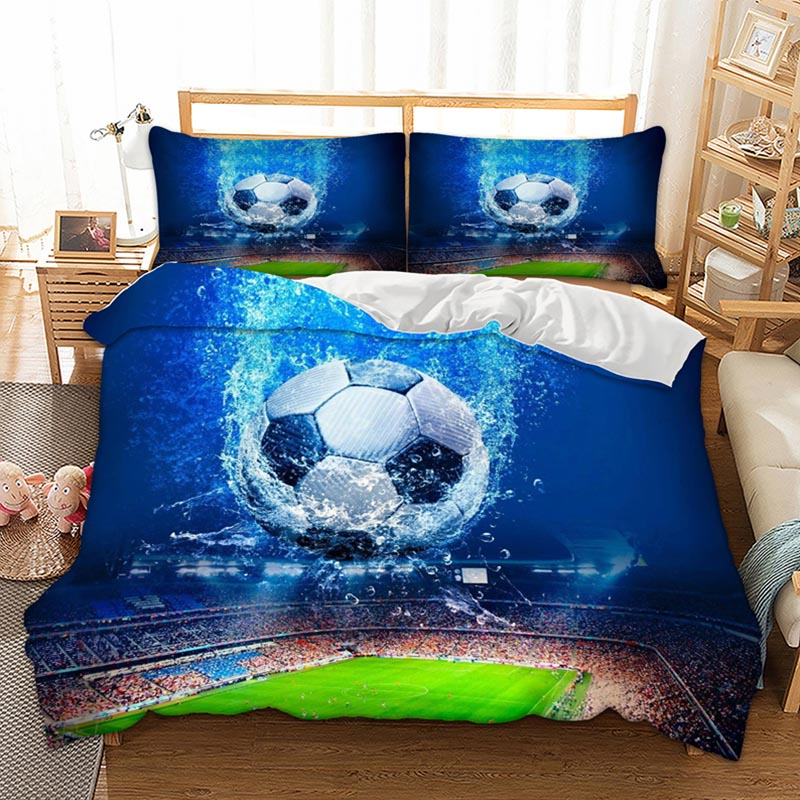 3pcs/lot Football Printed Bedding Sets Queen King Twin Size Luxury 3d Bed Cover Soccer Duvet Cover Sheet Set Linen Home Textiles