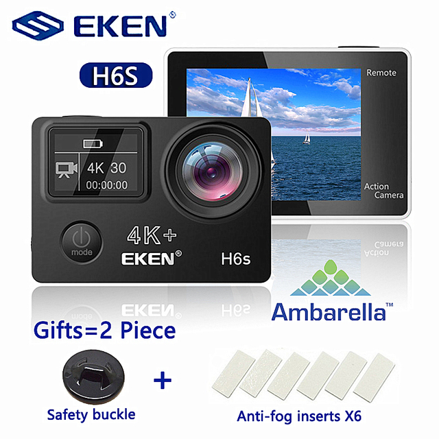 ต้นฉบับ EKEN H6S 4K + Ultra HD 14MP พร้อม EIS REMOTE กล้องวิดีโอ Ambarella A12 ชิป WIFI 30 M กันน้ำ Action กล้อง
