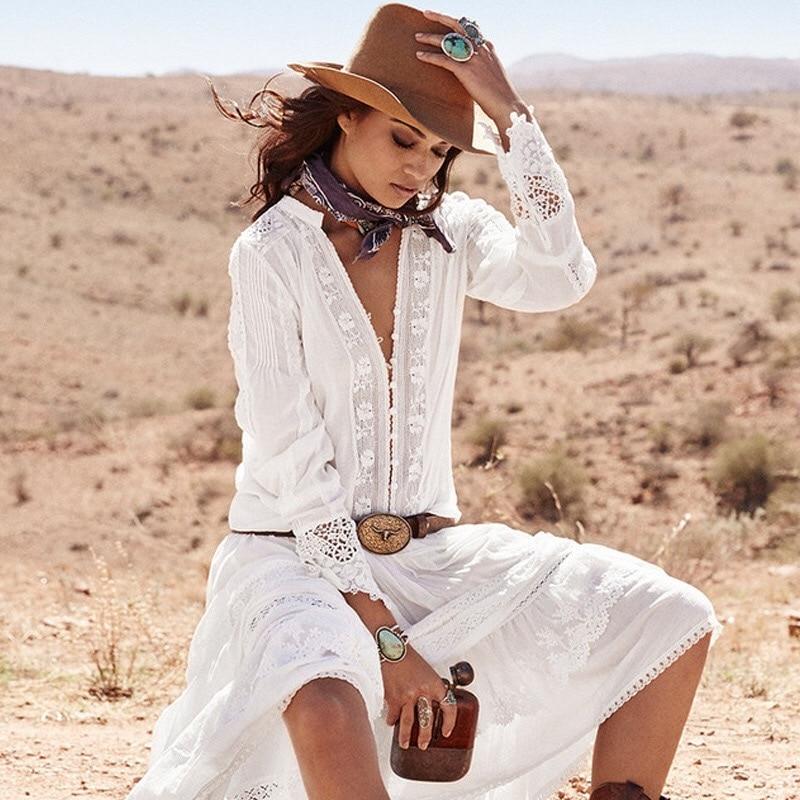 Manches Dentelle Évider Cou Blouse Broderie Blanc Bohème Boho Femmes Chemises Tops Longues Automne Floral Camisa Femme À En Feminina V 2H9DEI