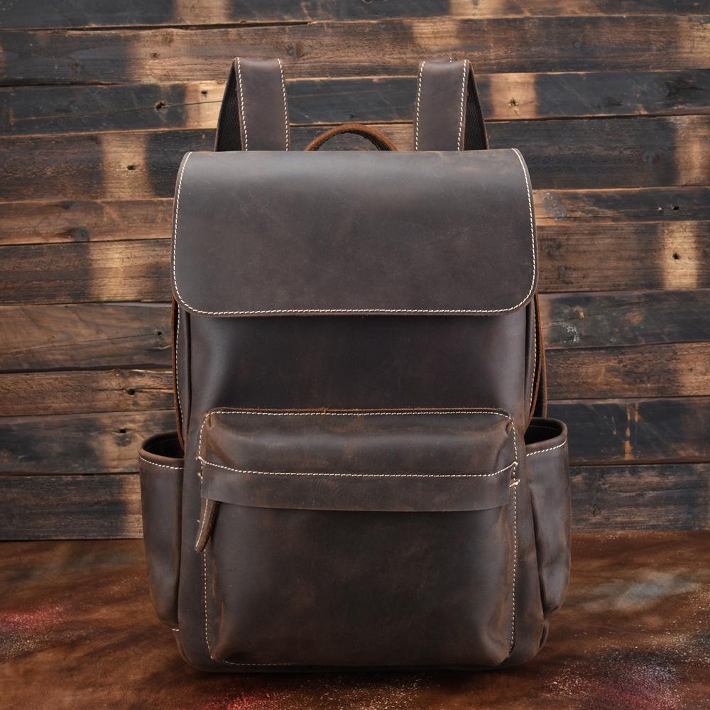 High Grade Vintage Durable Quality Crazy Horse Leather Men Backpack Casual Genuine Leather Mens Backpacks OK for 14 LaptopHigh Grade Vintage Durable Quality Crazy Horse Leather Men Backpack Casual Genuine Leather Mens Backpacks OK for 14 Laptop