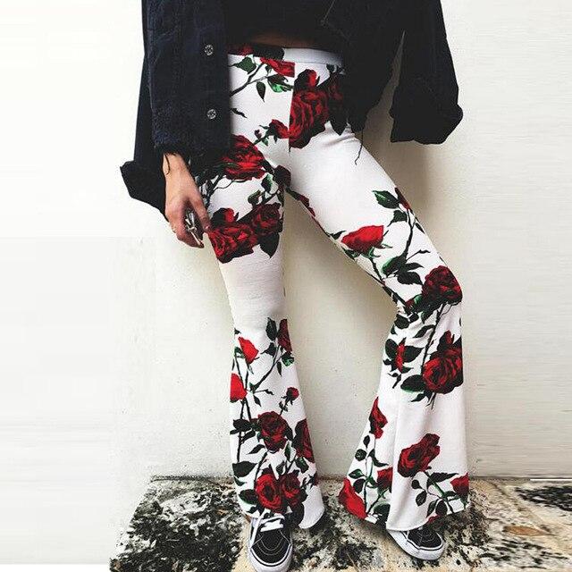 BKLD Для женщин брюки 2018 летние новые Высокая Талия расклешенные брюки Для женщин с цветочным принтом пляж стрейч Boho расклешенные брюки Для женщин брюки