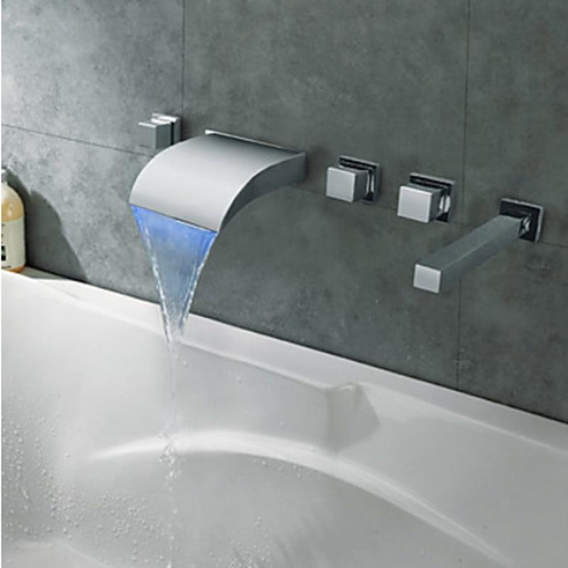 ツ)_/¯Modern LED Changing Bathroom Tub Faucet Hot And Cold Water Tap ...