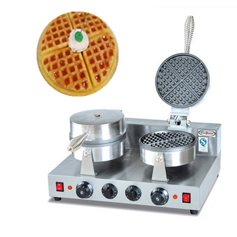Double-end waffle baker commercial stainless steel muffin waffle machine pork floss bread machine snacks equipment free ship new premium fast food equipment commercial package double grilled hamburger machine price