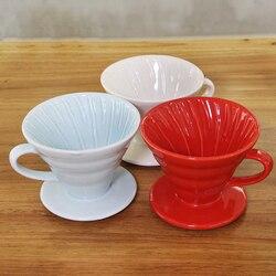 Wielokrotnego użytku wlać kroplownik kawowy ekspres silnik ceramiczny Cafe V60 lejek z filtrem kubek stałe narzędzie sitko dla 1 4 filiżanek|Filtry do kawy|   -