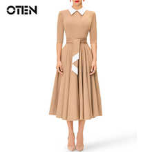 OTEN Women Casual 2019 Spring New Style Dress Vintage 1940s School Wear to Work Half Sleeve A-line Solid Color Swing