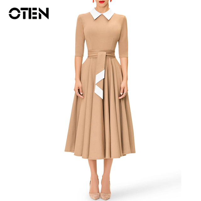 OTEN Women Casual 2019 Spring New Style Dress Vintage 1940s School Wear to Work Half Sleeve A-line Solid Color Swing Dress