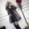 Invierno Faux Fur Coat Mujeres Chaleco Chaleco Cappa abrigo de imitación silver fox mink mujer prendas de abrigo delgado largo abrigo de piel falsa chalecos