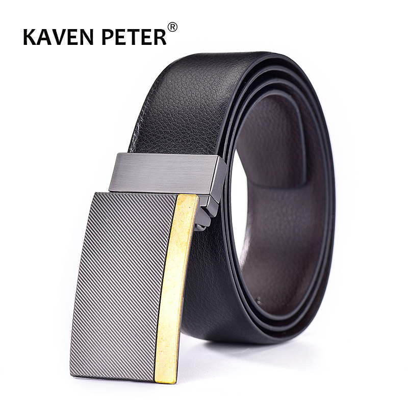 2019 Cow Genuine Leather Men Plate Reversible Buckle Belt Classic Luxury Strap Male Belts For Men Fashion Business High Quality