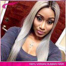 100 virgin brazilian glueless ombre grey lace front wig two tone Brazilian gray human hair full
