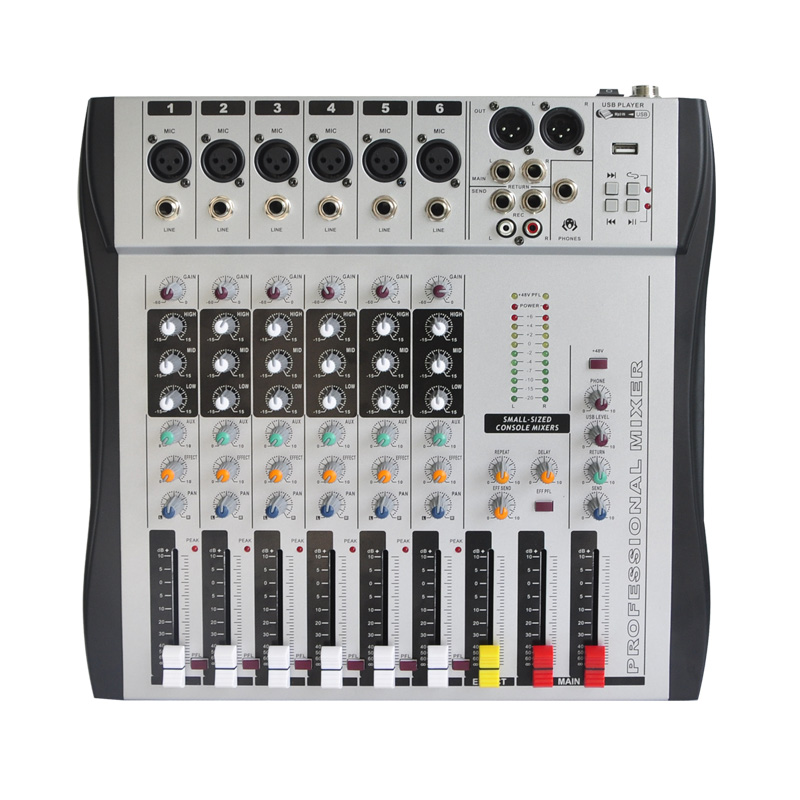 Freeboss MX-600 6ch Mono 6 channels good quality hot sell USB professional audio dj mixer freeboss me82 ultra low noise 4 mono 2 stereo 8 channels 16 dsp usb professional dj audio mixer console