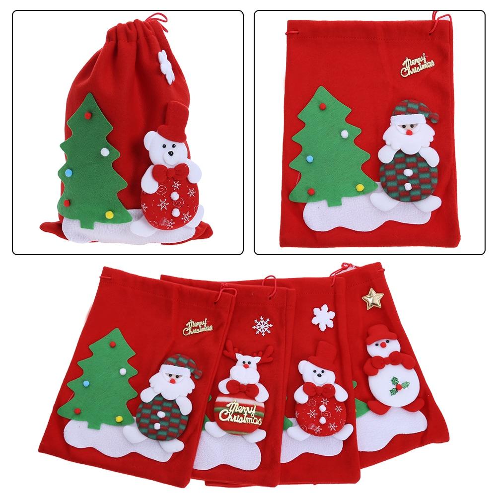 large christmas gift bag candy bag new year ornament santa claus snowman christmas tree random pattern - Large Christmas Gift Bags