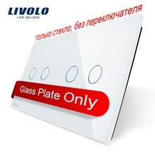 Livolo Lujo White Pearl Crystal Glass, 151mm * 80mm, estándar de LA UE, doble Panel De Vidrio VL-C7-C2/C2-11