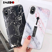 цена на IMIDO Marble Pattern Phone Case For iPhone X XS MAX XR 8 7 6 6S Plus Hide Ring Stand Holder TPU Silicon Cover For iPhone 7 Coque