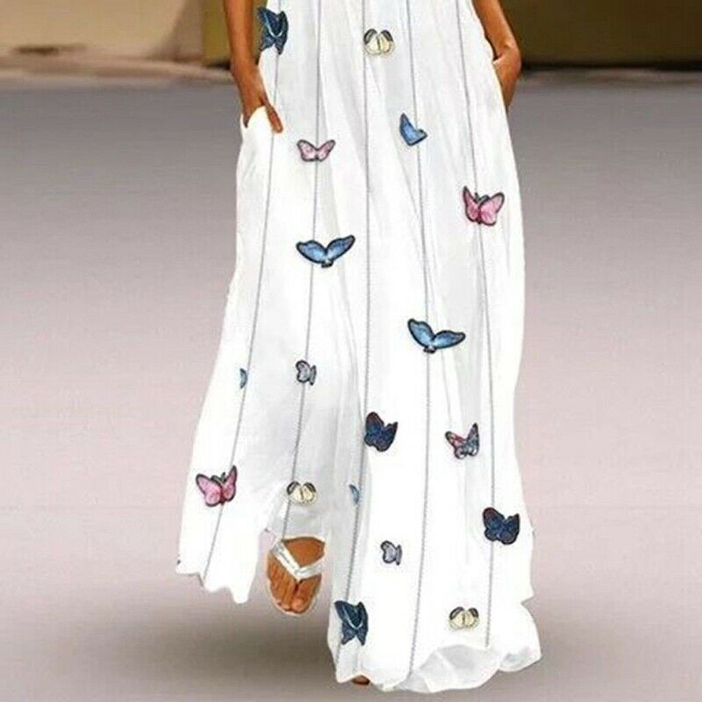 Women Vintage Daily Casual Sleeveless Striped Butterfly Printed  Summer Dress*