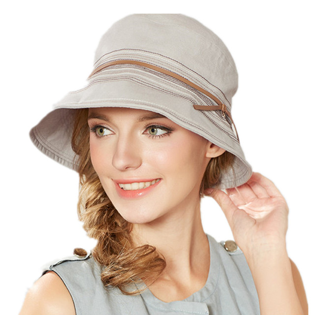 Kenmont Bucket Hat Caps Cotton Hemp Women Lady Girl Summer Solid Color Wide  Brim Sun Cotton d304a10f8739