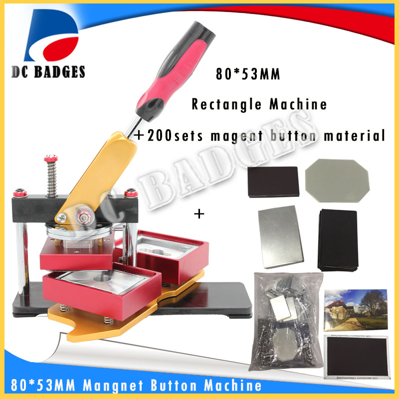 80*53mm Rectangular fridge magnet badge Making Machine  including mold with 200sets magnet button material