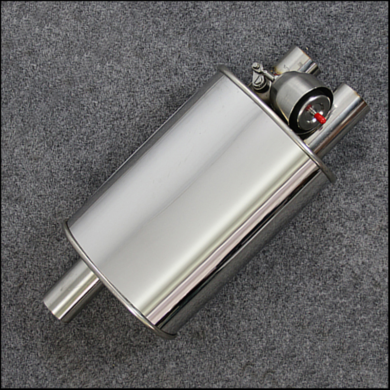 Exhaust Pipe Car Muffler Polished Stainless Steel Silencer 2inlet Valve exhaust M drum racing sound