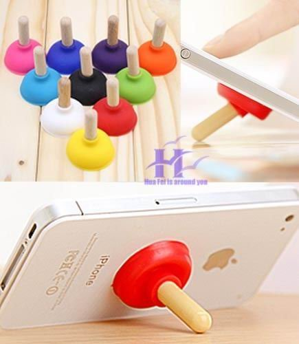 wholesale Cute Toilet-Plunger Shaped Silicone Stand Holder for Cell Phone  Mobile phone support   gadgets free shipping