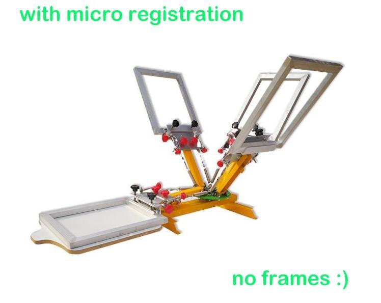 55e99e1c Micro registration 4 color 1 station Silk Screen Printing Machine t-shirt  Printer Press equipment carousel Free Shipping