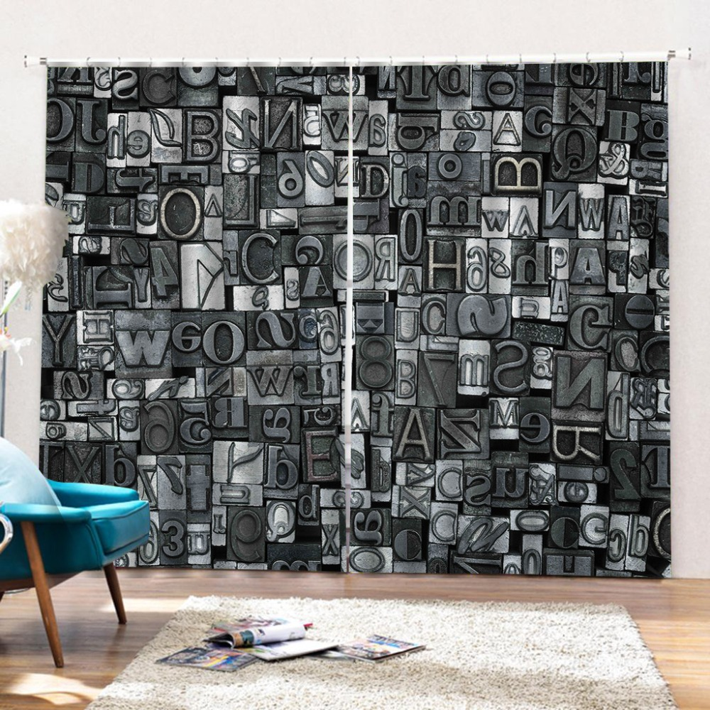 Customize 3d Curtain 3D Photo Curtains English Alphabet Curtains Bedroom Living Room Kitchen Curtain