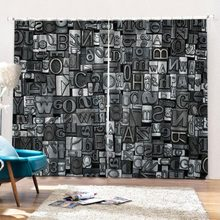 Customize 3d curtain 3D Photo Curtains English alphabet Curtains Bedroom Living Room kitchen curtain(China)