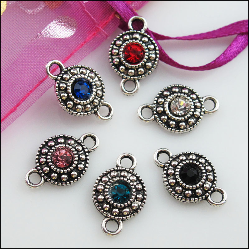 12Pcs Tibetan Silver Mixed Crystal Round Charms Pendants Connectors 11x18mm