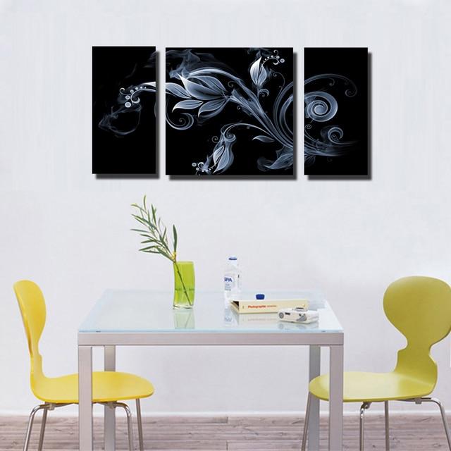 Leinwand Kunst malerei blumen auf schwarzem hintergrund 3 Panels ...