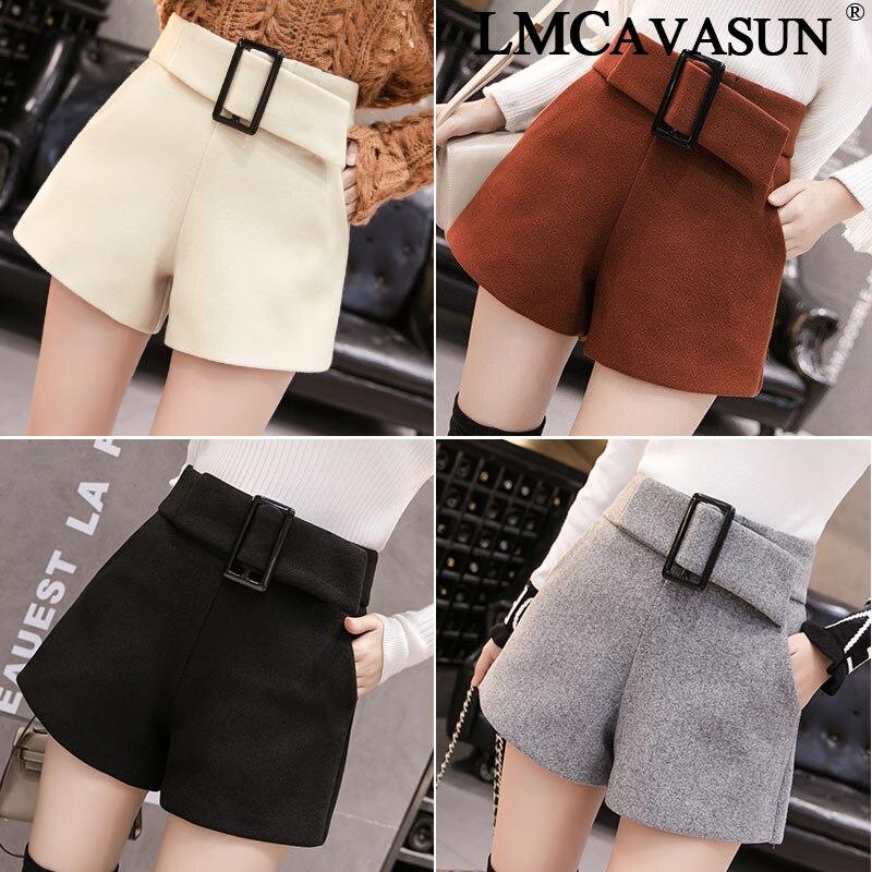 LMCAVASUN Autumn Winter Formal Woolen Shorts Women Korean High Waist Thick With Sashes Wide Leg Shorts Female Casual Bottom