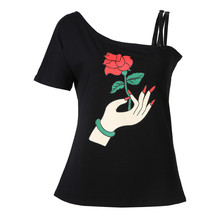 2017 Women's New Style  Rose In The Hand  Girl's T-shirt  A New Single Sleeve Shoulder Rose Printing  Cotton  Women's  T-shirt