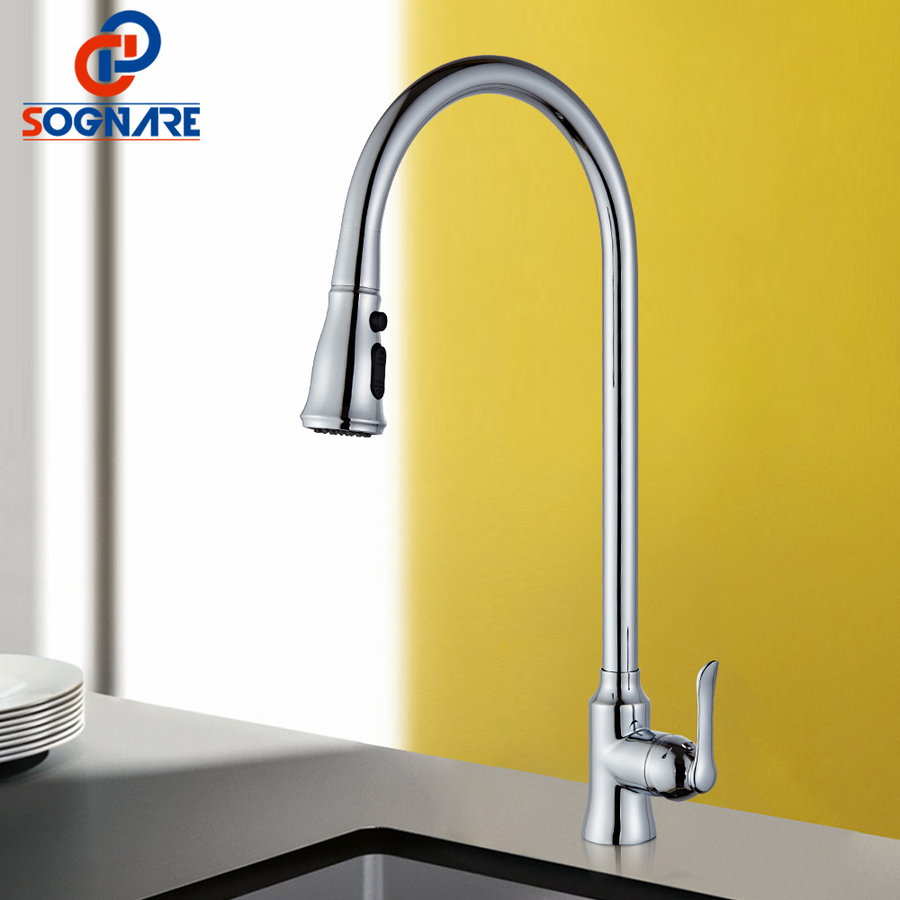 SOGNARE Spring Kitchen Faucet Chrome Kitchen Single Handle Sink Faucet Solid Brass Swivel Sink Mixer Cold Hot Water Mixer Taps micoe brass faucet single handle single hole kitchen faucet double nozzle water mixer chrome hot and cold water rotating faucet