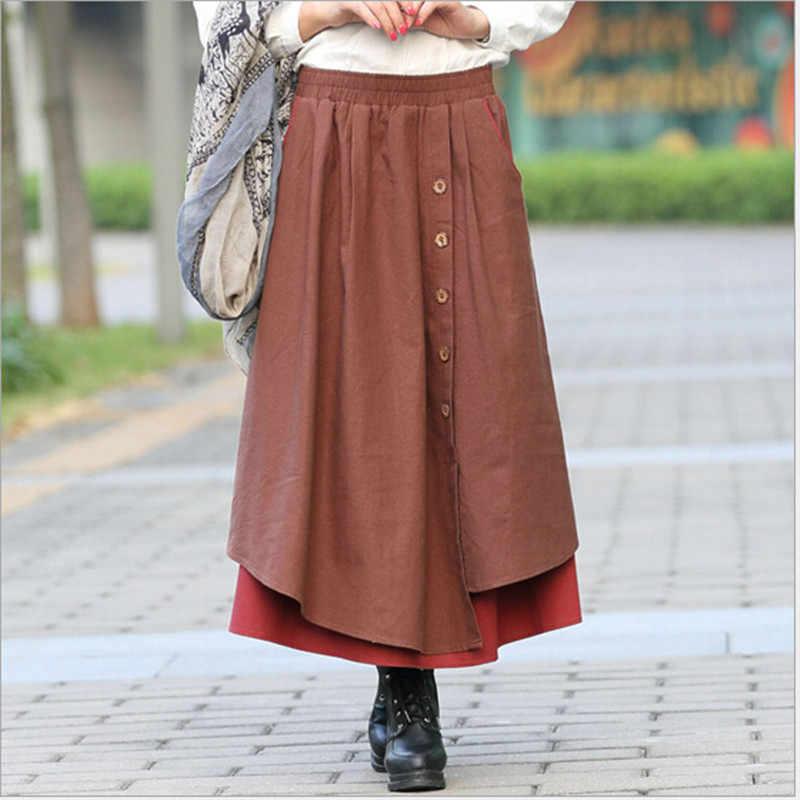 dd9a967634a ... Осень-зима юбка Для женщин Высокая талия плиссированные юбки плюс  Размеры Повседневное длинная юбка из ...