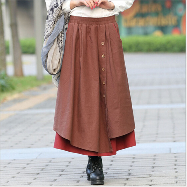 Cotton Linen Autumn Winter Spring Ladies High Waist Pleated Skirt – Elastic Waist