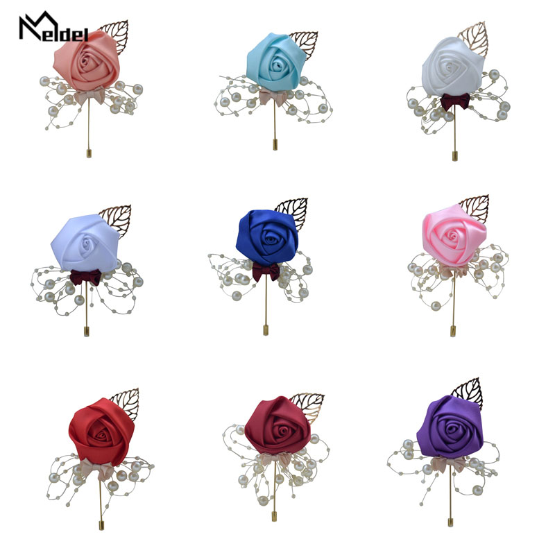 Meldel Corsage Groom Wedding Luxury Rose Boutonniere Rose Flower Fake Pearl Brooch Party Prom Corsage Lapel Pin Badge Buttonhole