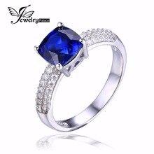 JewelryPalace Cojín 2.6ct Creado Azul Zafiro Anillo de Compromiso Solitario Anillo de Plata de Ley 925 de Joyería Fina para Las Mujeres