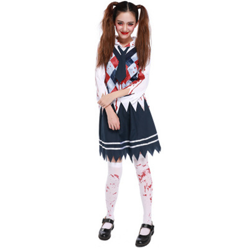 Zombie Cheerleader Halloween Costume For Girls.Us 21 13 10 Off Drop Shipping Deluxe Halloween Sexy Child Girls Zombie Cheerleader Fancy Dress Halloween Costume 82616ps In Holidays Costumes From