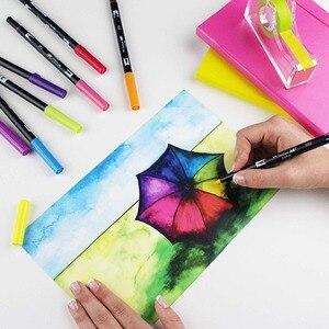 Image 3 - Tombow abt escova dupla caneta arte marcadores caligrafia desenho caneta conjunto brilhante 10 pacote blendable escova ponta fina aguarela rotulação