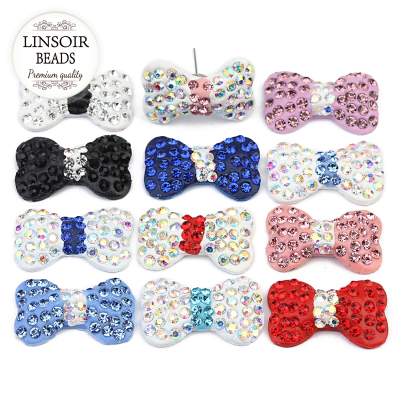 Jewelry & Accessories Considerate Linsoir 10pcs/lot 11.5x18.5mm Clay Crystal Rhinestone Beads Colored Butterfly Stones Hair Jewelry Making Clothing Decoration Price Remains Stable