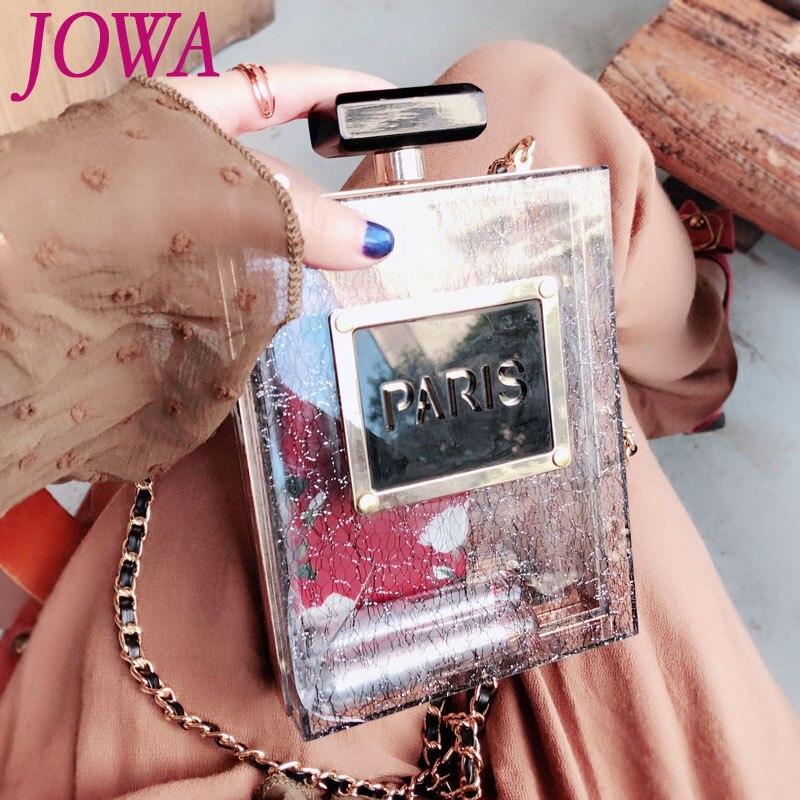 2019 New Design Chain Bag All Match Black Shoulder Clutch Mini Messenger Bags Fashion Female Handbag Hard Perfume Bottle Package