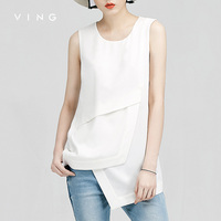 VING Funny Tanks 2016 Summer Wommen Loose O Neck Chiffon Asymmetrical Tank