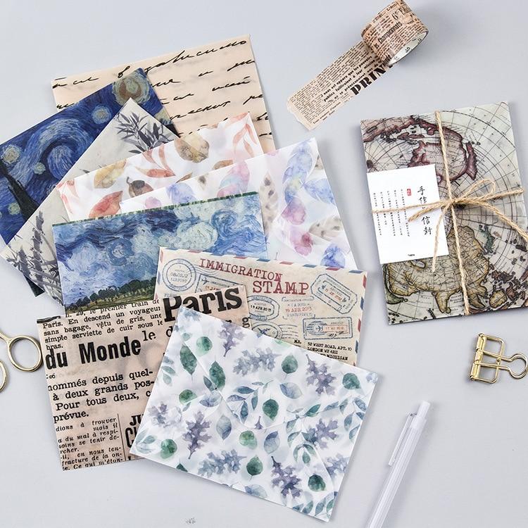 цены на 3pcs/set Vintage Van Gogh Painting Poetry Landscape paint Translucent Envelope Message Card Letter Stationary Storage Paper gift в интернет-магазинах