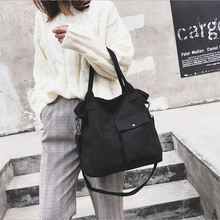 2018 new womens canvas bag casual fashion shoulder Messenger trend wild handbag
