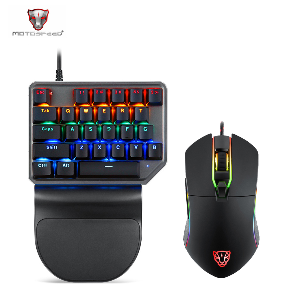 Motospeed Mechanical Keyboard K27 27 Keys Single Hand Backlight USB Wired Gaming Keyboard And Mouse Set  For Computer Notebook