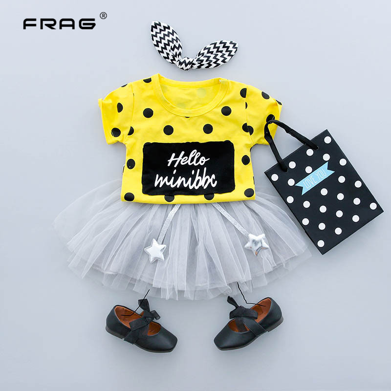 Baby Girls Clothes New Girls Suits Newborn Summer Casual Cute Style Dot Pattern Children ...