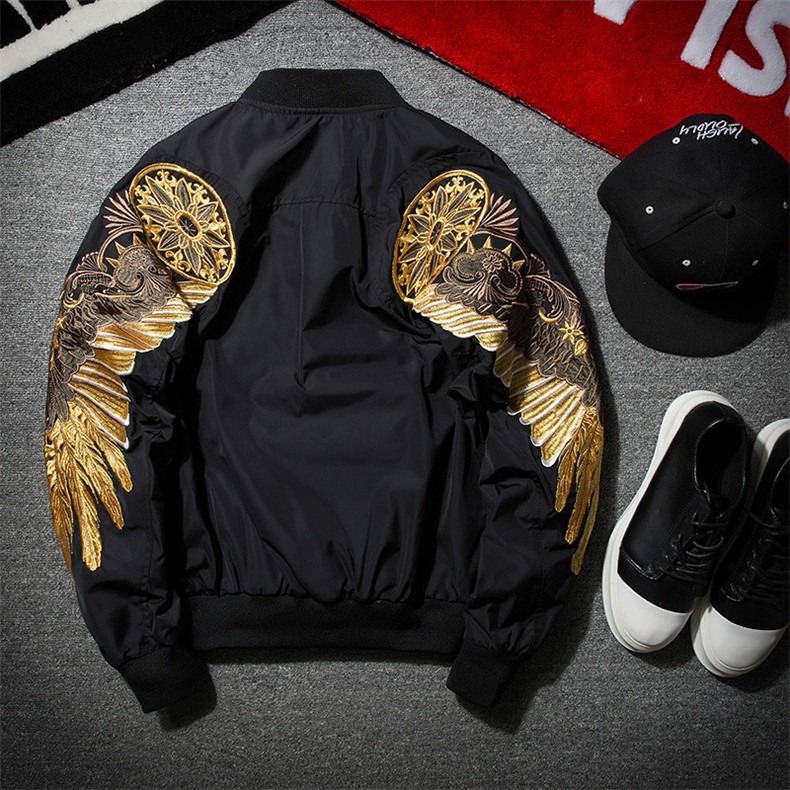 Unisex Jackets Mens Wing Design Spring Multi Color Embroidery Bomber Jacket Men Streetwear Brand-clothing Casual Hip Hop Coat