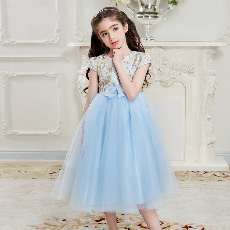 Kids Girls Wedding Flower Girl Dress Princess Party Pageant Formal Dress Classical Embroidery Lace Tulle Dress 4-16Y girls short in front long in back purple flower girl dress summer 2017 girl formal dress kids party princess custume skd014283