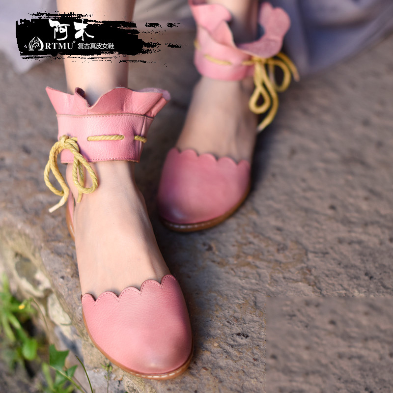 Artmu Fashion Women Slides Sandals Closed Toe Pink Flower Genuine Leather Sandals Woman Dress Sandias de gladiador de las mujer