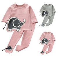 MUQGEW New Brand Baby Rompers Kids Baby Girls Long Sleeves Outfit Clothes Print Long Sleeve T-shirt Tops+Pants 1Set US Warehouse