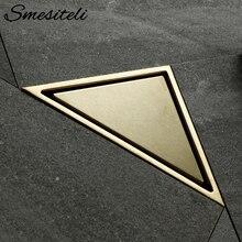 цены Smesiteli Bathroom Hidden Type Sink Drains Triangle Tile Insert Floor Drain Stainless Steel Brushed Gold Shower Drain 232*117mm