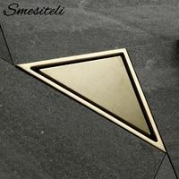 Smesiteli Bathroom Hidden Type Sink Drains Triangle Tile Insert Floor Drain Stainless Steel Brushed Gold Shower Drain 232*117mm